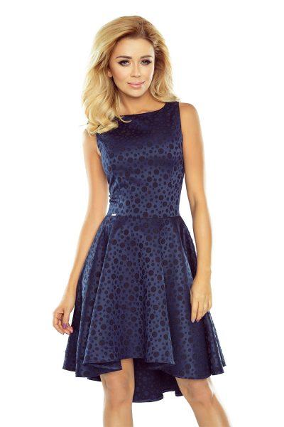 Tmavo modré krátke šaty s asymetrickou sukňou