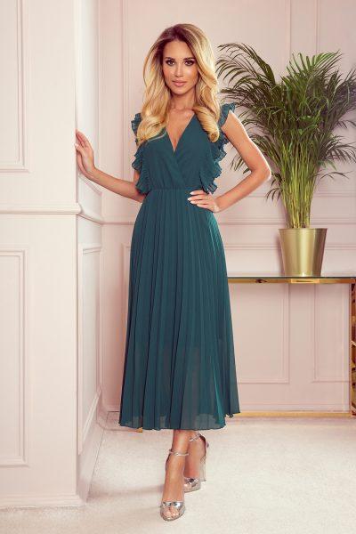Tmavo zelené elegantné dlhé šaty s výstrihom a volánikmi