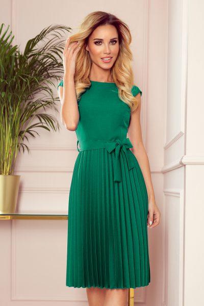 Zelené plisované šaty s mašľou okolo pása a krátkymi rukávmi