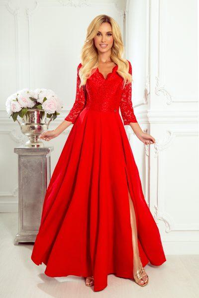 Červené elegantné dlhé čipkované šaty s výstrihom