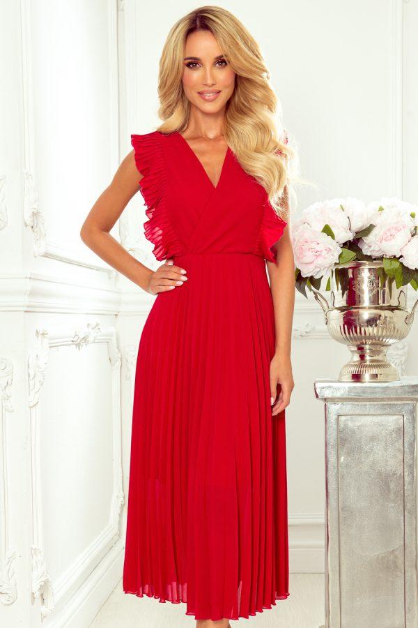 Červené voľné plisované šaty s volánikmi