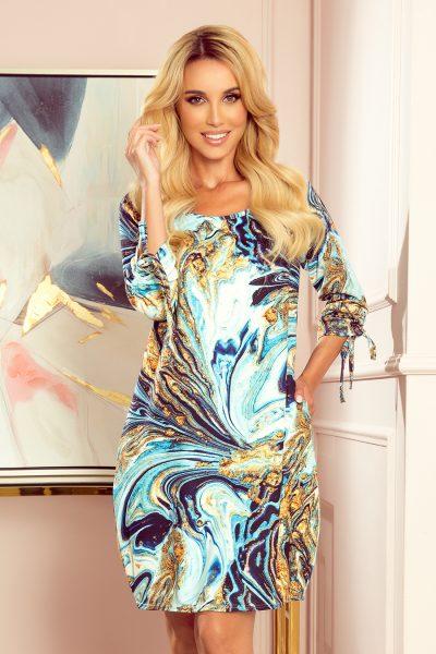 Farebné oversized šaty s vreckami - modro zlaté vlny