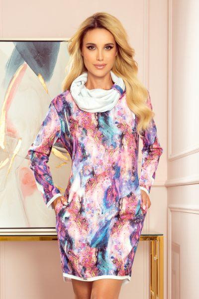 Farebné rolákové voľné šaty s vreckami