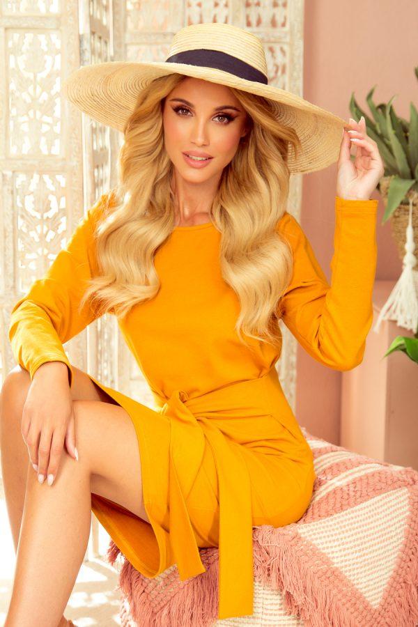 Horčicovo žlté elegantné šaty s širokým opaskom a dlhými rukávmi
