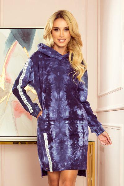 Mikinové šaty s kapucňou a vreckami - modrý mramor