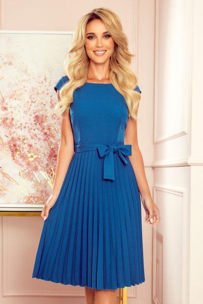 Modré plisované šaty s krátkym rukávom
