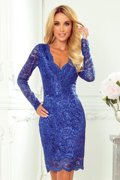 Modré spoločenské krátke čipkované šaty s výstrihom
