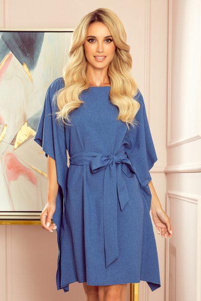 Modré voľné motýlikové šaty s mašľou