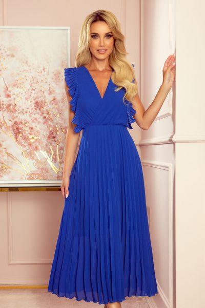 Modré voľné plisované šaty s volánikmi