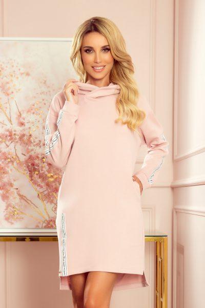 Pudrovo ružové mikinové šaty s kapucňou a vreckami