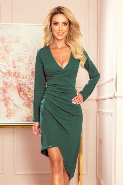 Tmavo zelené šaty s výstrihom a závesom