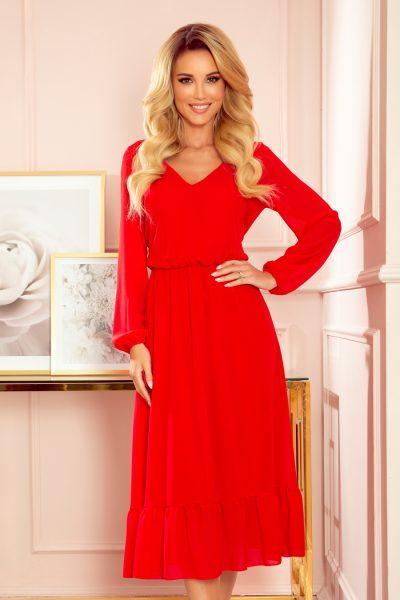 Červené šifónové midi šaty s výstrihom a límcom