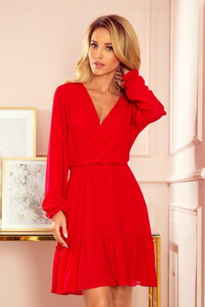 Červené šifónové voľné šaty s volánmi a dlhými rukávmi