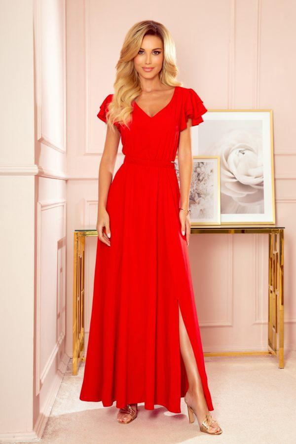 Červené dlhé maxi šaty s výstrihom a volánikmi