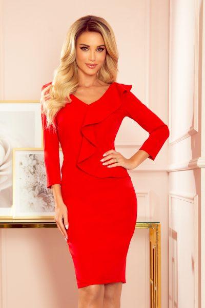 Červené elegantné šaty s volánom a výstrihom