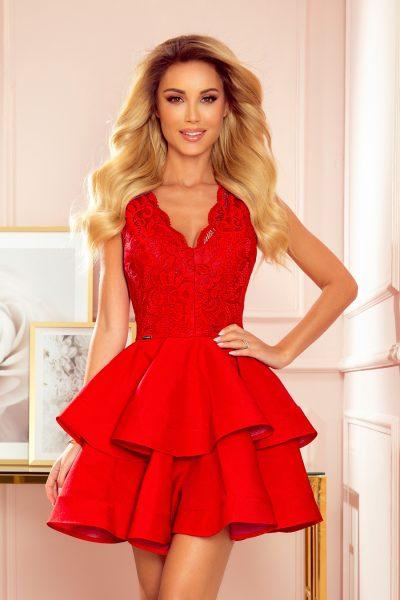 Červené elegantné krátke čipkované šaty s dvojitou sukňou
