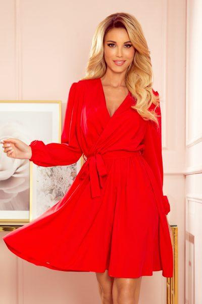 Červené voľné letné šaty s výstrihom
