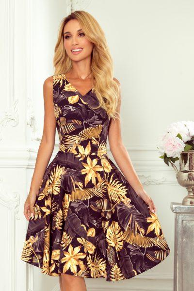 Čierne krátke šaty so zlatými listami bez rukávov
