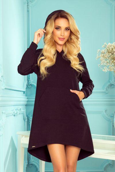 Čierne mikinové šaty s predným vreckom a kapucňou