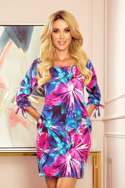 Farebné Oversize krátke šaty - modré a ružové kvety