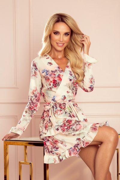Kvetované krátke letné šaty s volánikmi a výstrihom