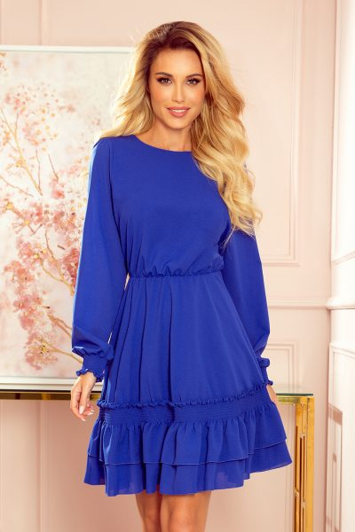 Modré šifónové krátke šaty s gumičkami a dlhým rukávom