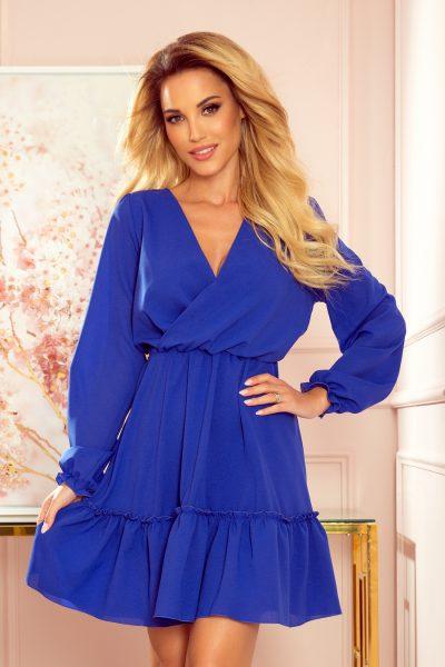 Modré šifónové voľné šaty s volánmi a dlhými rukávmi