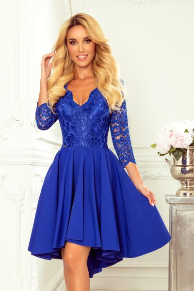 Modré elegantné čipkované šaty s 3/4 rukávom