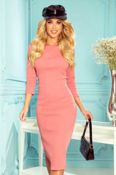 Pudrovo ružové midi rebrované šaty s 3/4 rukávmi