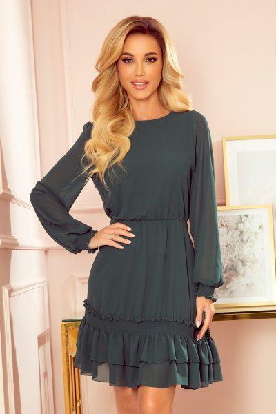 Tmavo zelené šifónové krátke šaty s gumičkami a dlhým rukávom