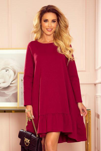 Vínovo červené lichobežníkové voľné šaty s volánom