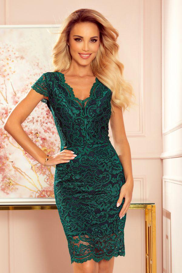 Zelené elegantné čipkované krátke šaty s krátkymi rukávmi