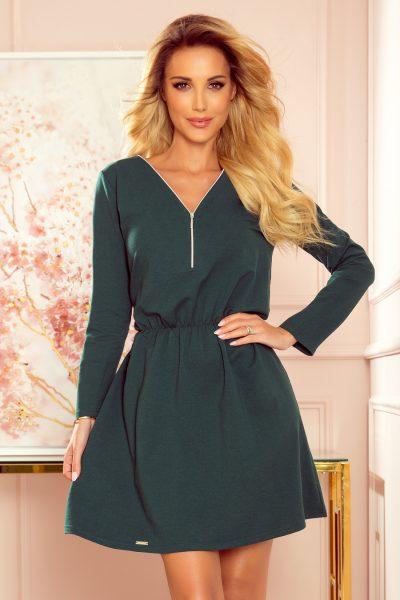 Zelené krátke šaty so zipsom a dlhým rukávom