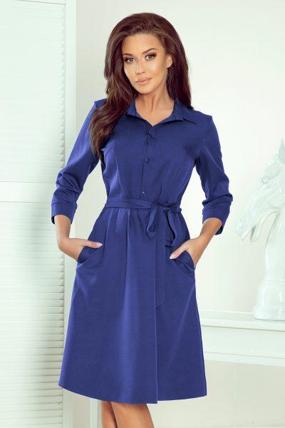 Tmavo modré košeľové šaty s viazaním