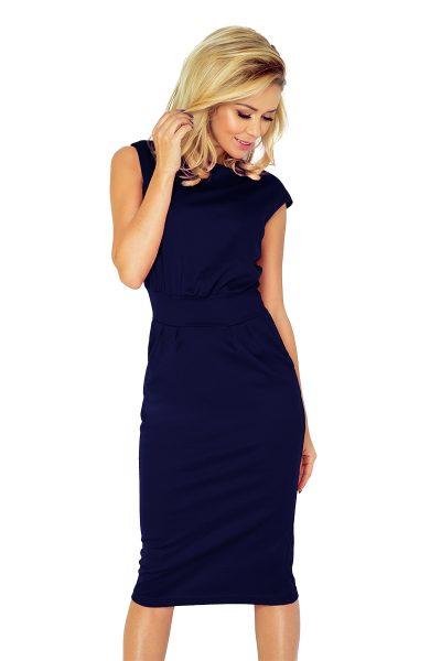 Tmavo modré obtiahnuté midi šaty bez rukávov