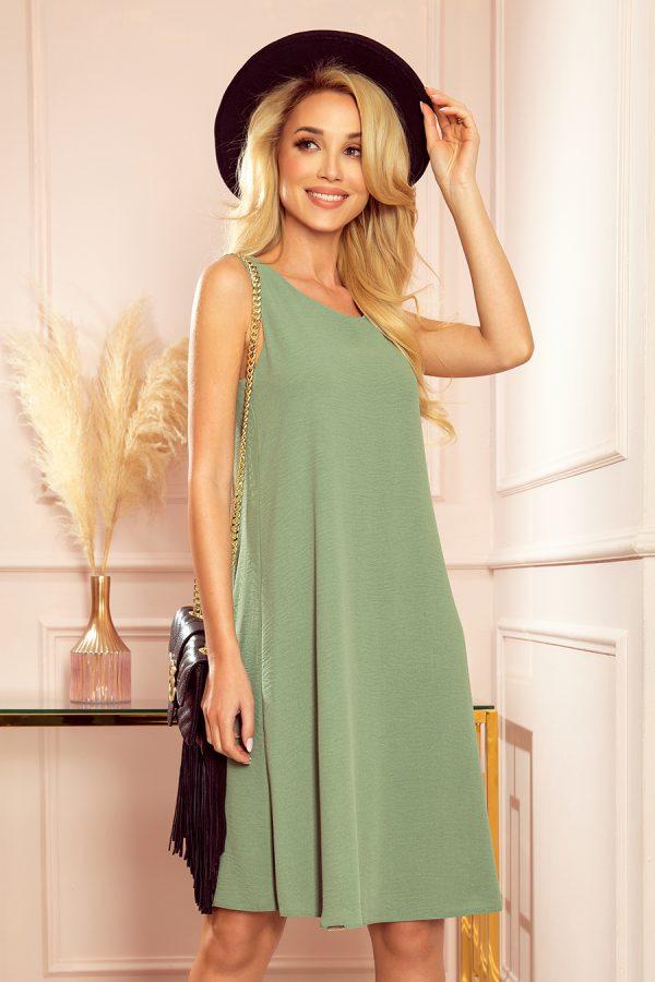 Olivové letné áčkové šaty bez rukávov