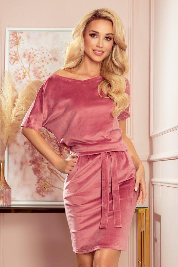 Staro ružové zamatové šaty s krátkym rukávom