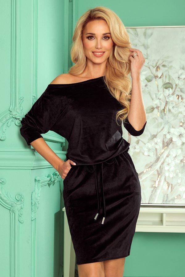 Čierne velúrové športové šaty s viazaním a vreckami