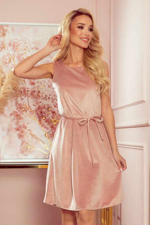 Staro ružové velúrové áčkové šaty bez rukávov