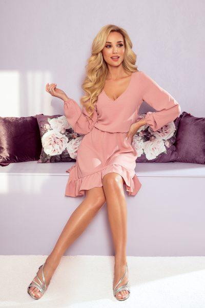 Pudrovo ružové voľné šaty s volánikmi a pružným pásom