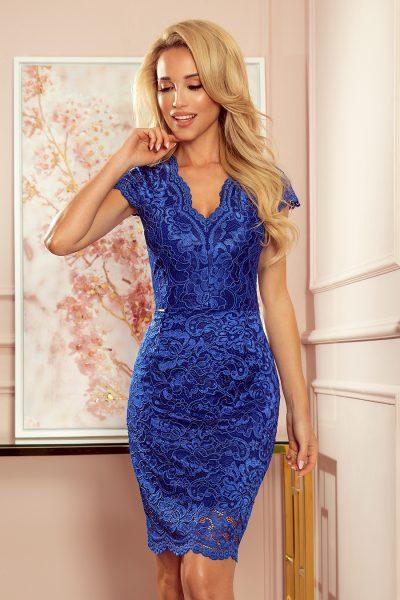 Modré krátke spoločenské čipkované šaty