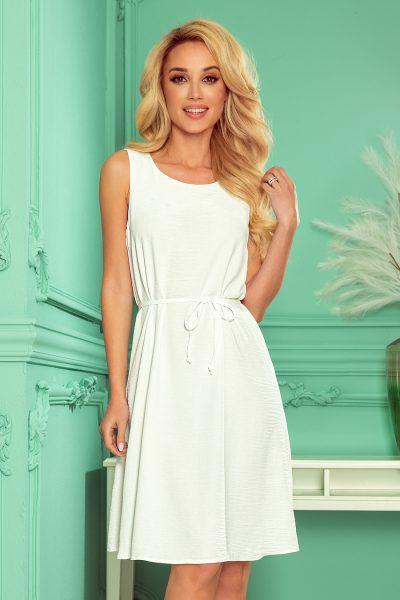 Béžové letné áčkové šaty bez rukávov