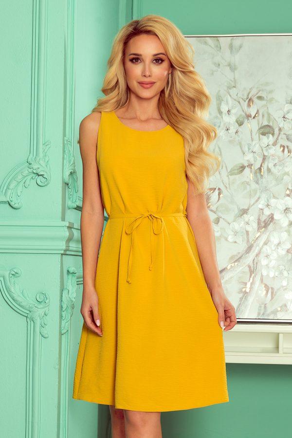 Medovo žlté letné áčkové šaty bez rukávov