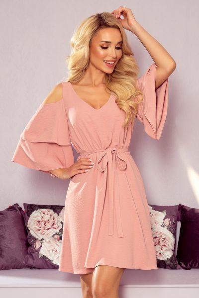 Pudrovo ružové voľné krátke šaty s rozšírenými rukávmi