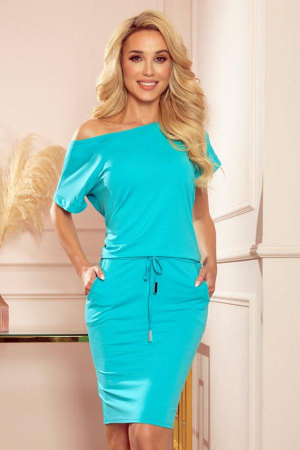 Belaso modré športové šaty s krátkym rukávom