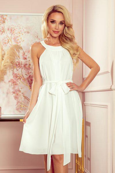 Béžové šifónové voľné krátke šaty s viazaním