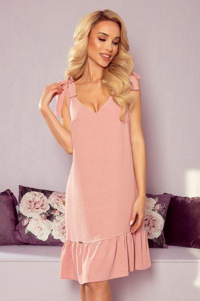 Pudrovo ružové letné šaty s mašľami na ramenách a nariasenou sukňou